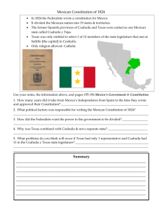 Mexican Constitution of 1824 and Colonization Laws of 1825