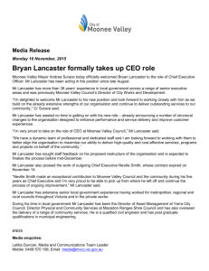 Bryan Lancaster formally takes up CEO role