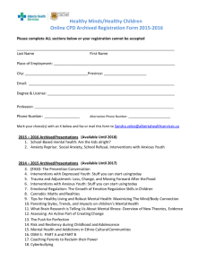Archived Registration Form - Healthy Minds Healthy Children