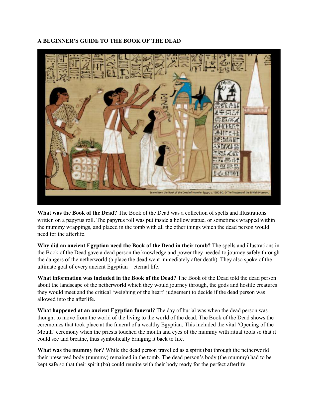 The Egyptian Book of the Dead as a guide in the last journey