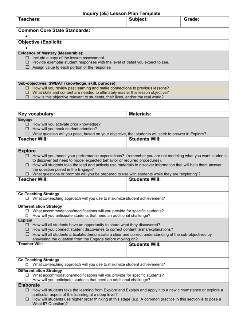 Inquiry Lesson Plan Template With Guiding Questions00