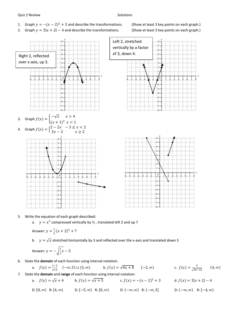 Calculus Chapter 2 Quiz Review Solutions