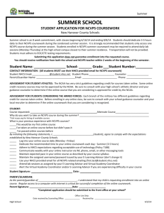 summer school student application for ncvps coursework