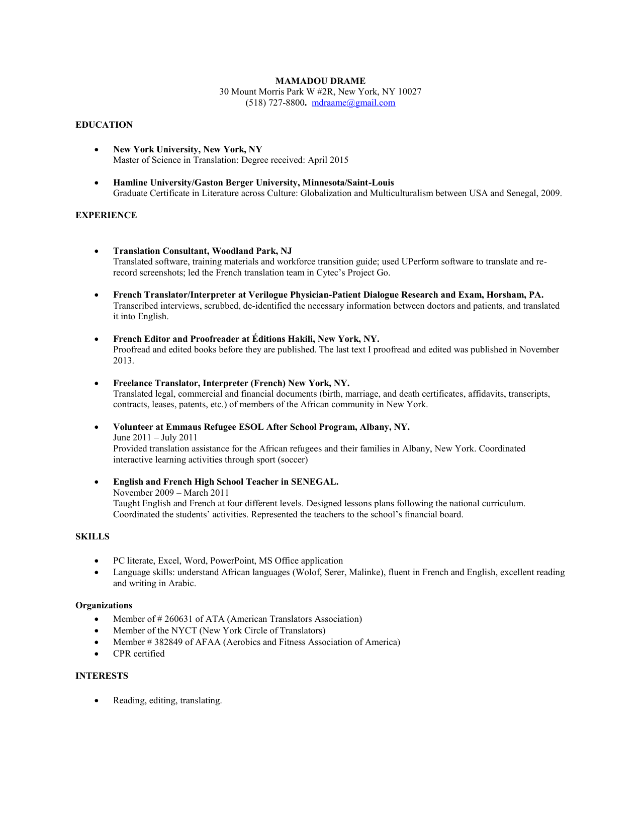Show My Resume New York Circle Of Translators