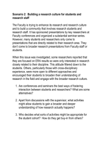 Scenario 2 Building a research culture for students and