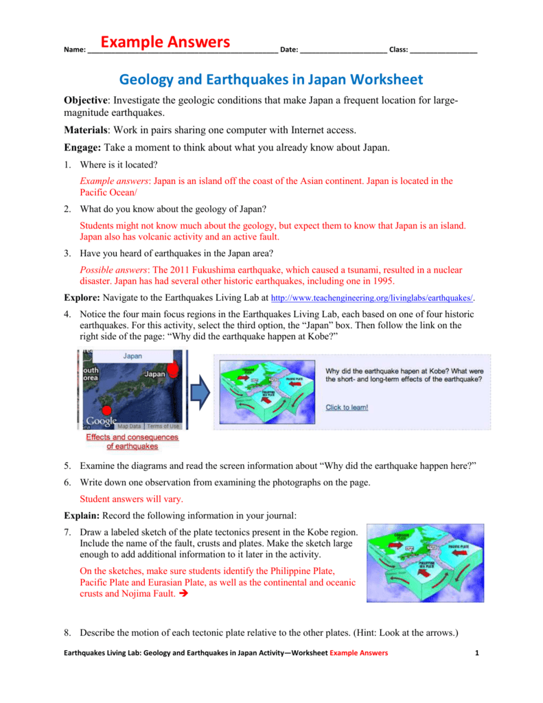 Geology and Earthquakes in Japan Worksheet Example Answers – Earthquakes Worksheet