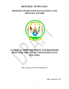 The Rwanda El Nino Preparedness and Response Plan