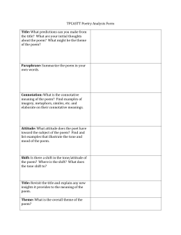 poetry explication essay sample outline tpcastt poetry analysis form