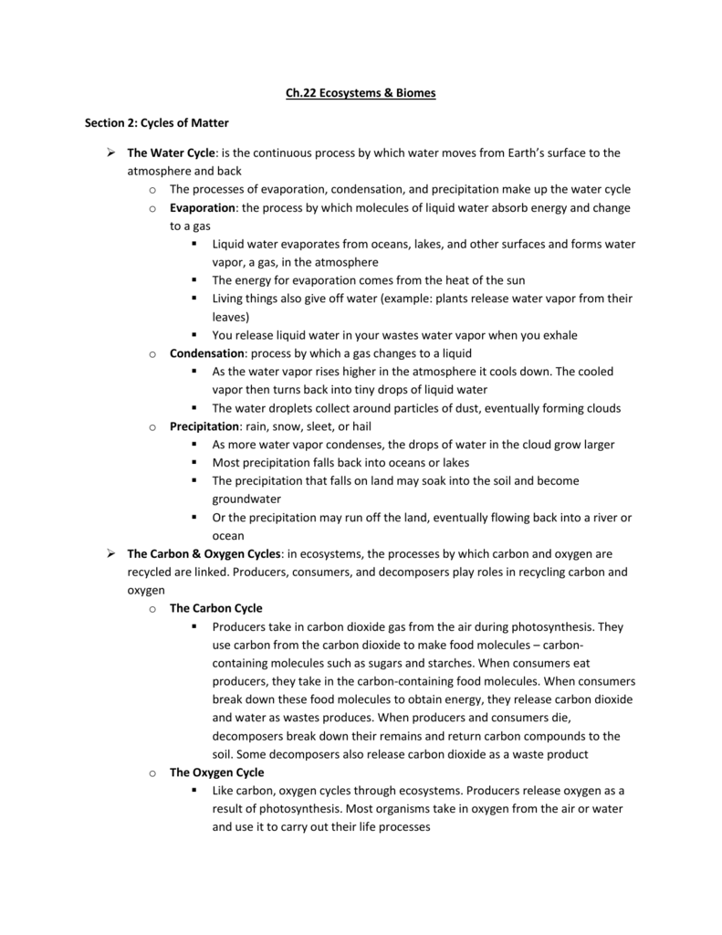 worksheet Cycles Of Matter Worksheet ch22sec2 stephanie dietterle webpage