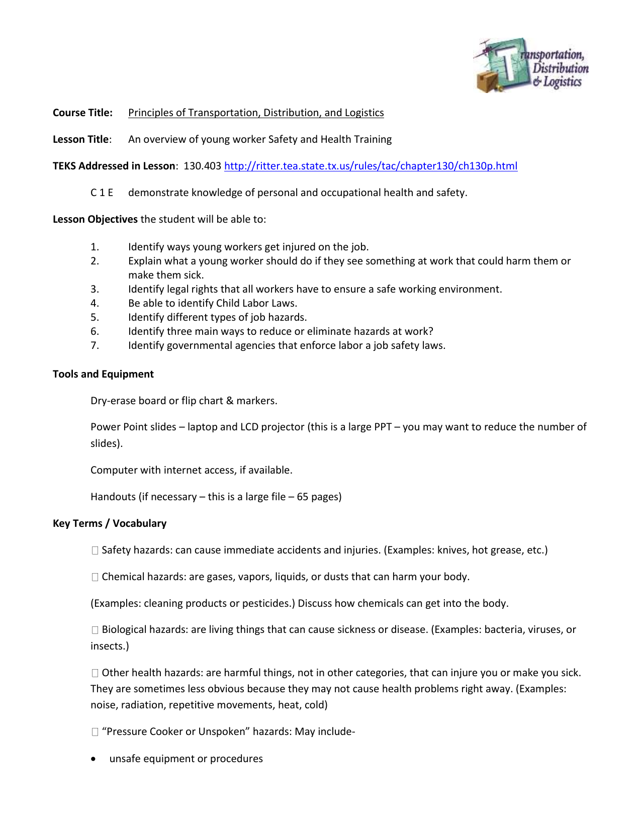 Personal & Occupational Safety lesson plan