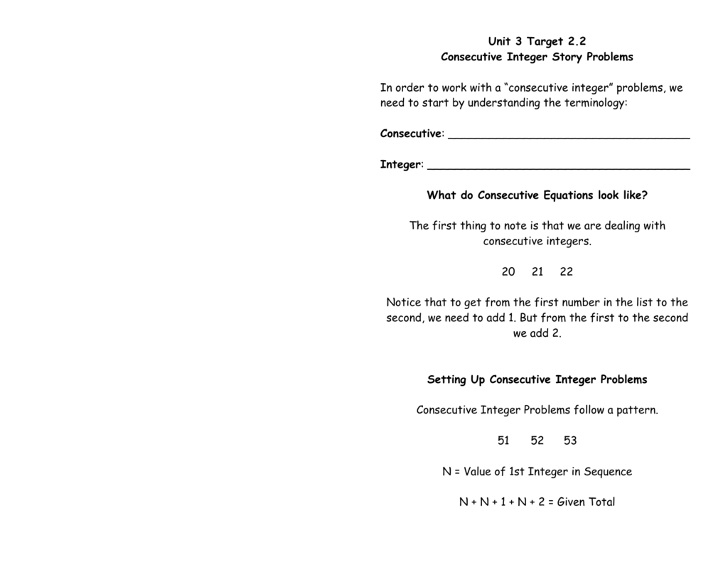 Quiz Worksheet Math With Consecutive Integers Free Printable ...