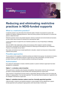 Reducing and eliminating restrictive practices in NDIS