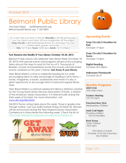 October 20 5:30pm - Belmont Public Library