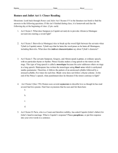 Romeo and Juliet Study Guide Act I - Answers
