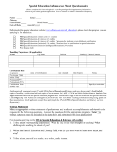 MS in Literacy /MS in Reading Information Sheet NON Degree