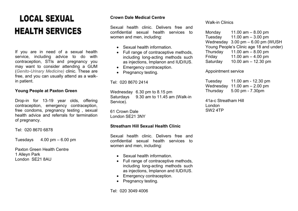 Sexual health clinic london contraception methods
