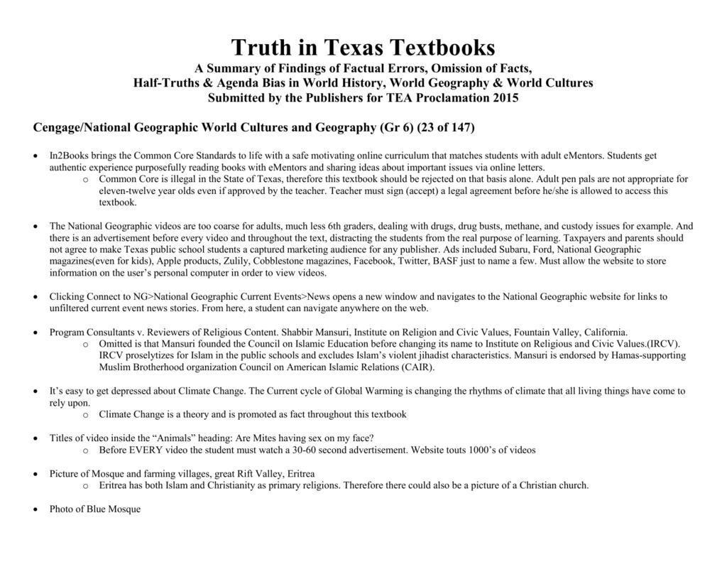 TTT Summary of Findings II Texas Social Studies Textbooks Under