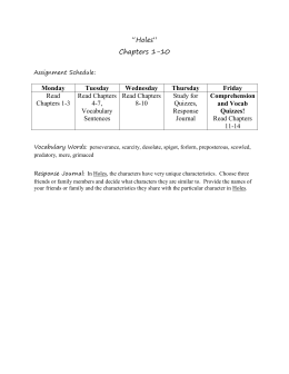 Chapters 1-10 Student Packet, Worksheets, and Quiz