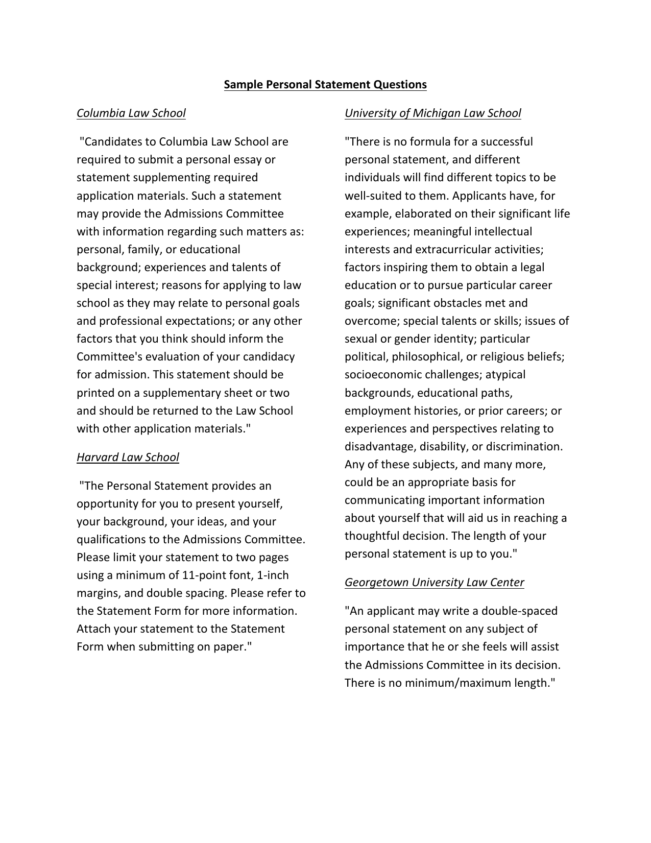 Law personal statement samples