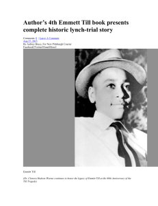 Author`s 4th Emmett Till book presents complete historic lynch
