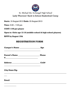 Basketball Camp Registration Form