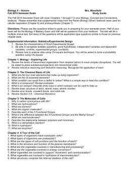 Fall 2015 Semester Exam Study Guide