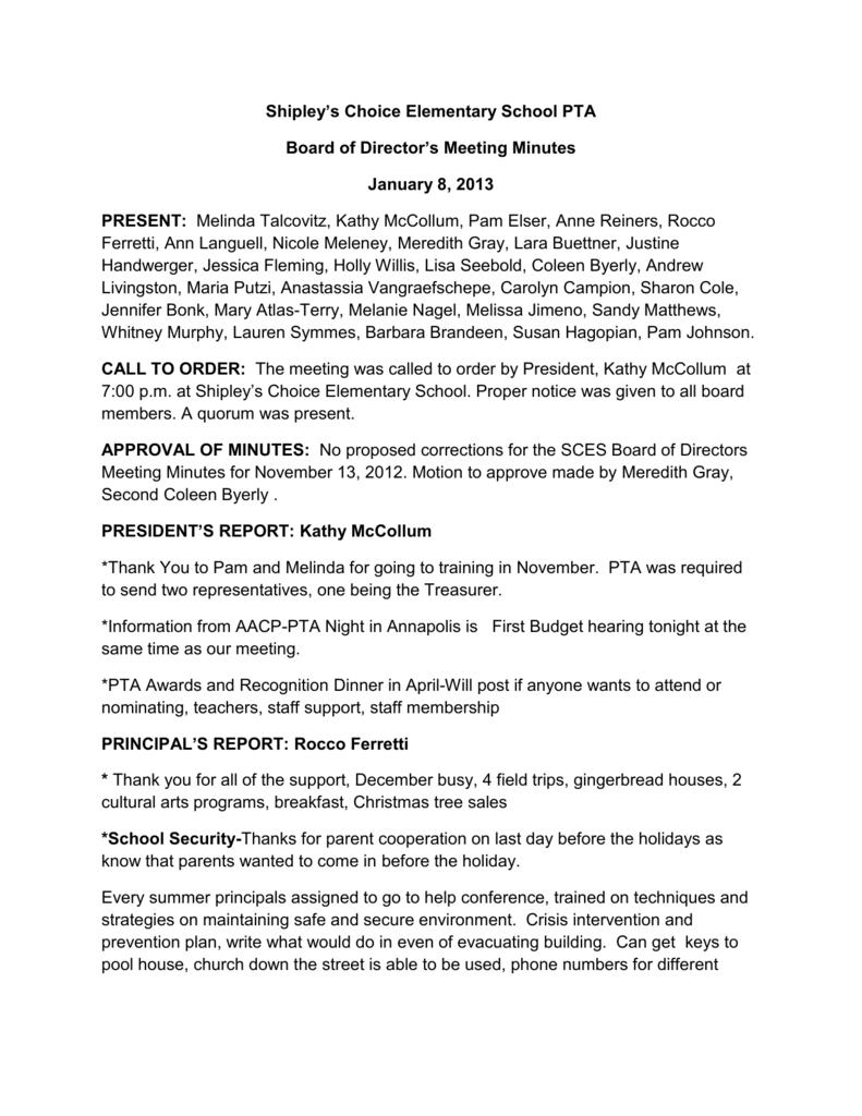 PTA Meeting Minutes January 8, 2013