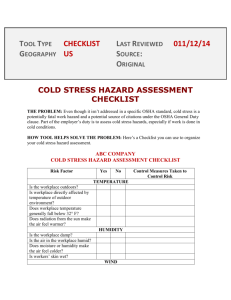 cold stress hazard assessment checklist