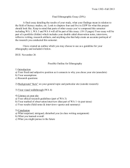 Essay Topics High School Final Ethnographic Essay Persuasive Essay Topics For High School also Essays On Health Chapter  Writing An Ethnographic Essay Essay Reflection Paper Examples