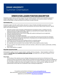 Orientation Leader Position Description