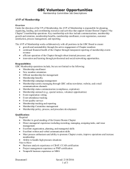 Membership Committee Job Descriptions
