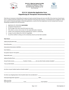 New Client Scholarship Form - ROCK, Ride On Center for Kids