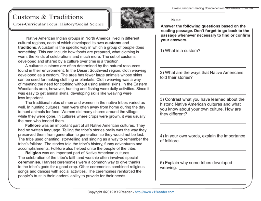 5th Grade Reading Prehension Worksheets