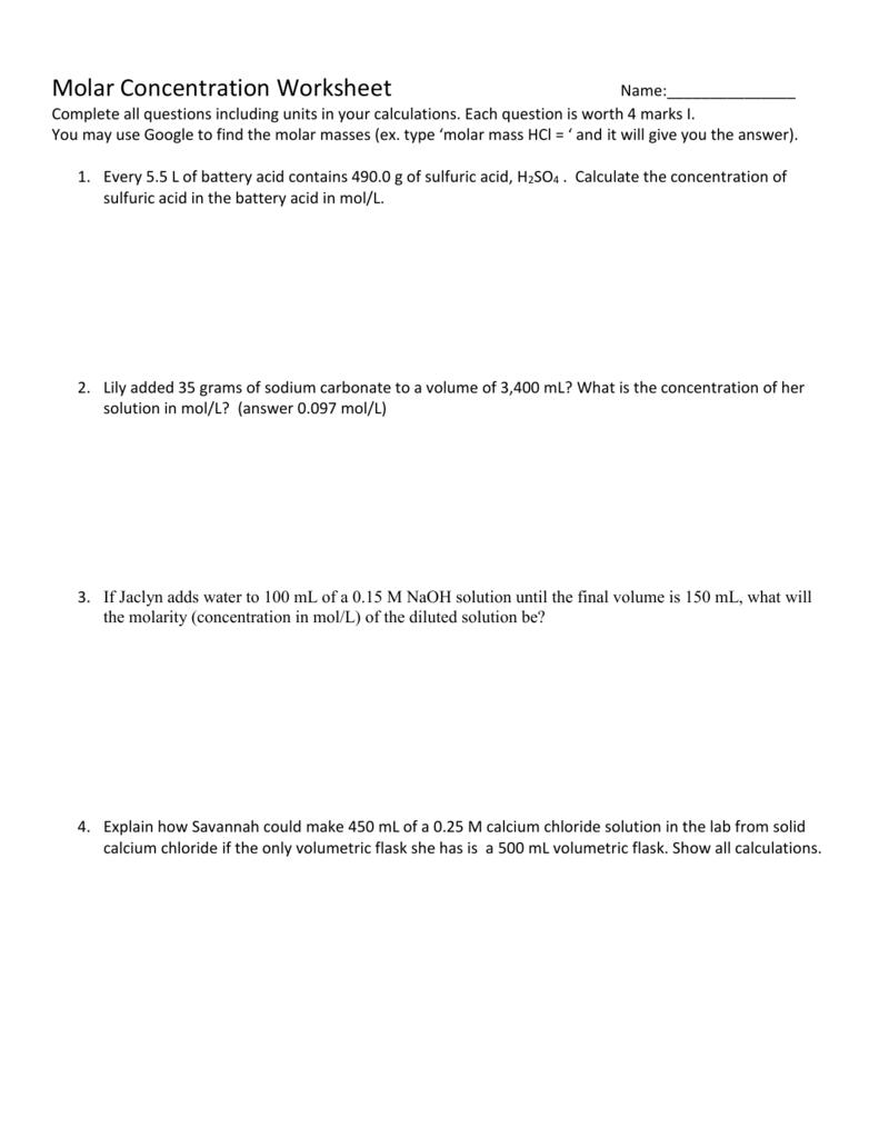 Worksheets Solution Concentration Worksheet Cheatslist