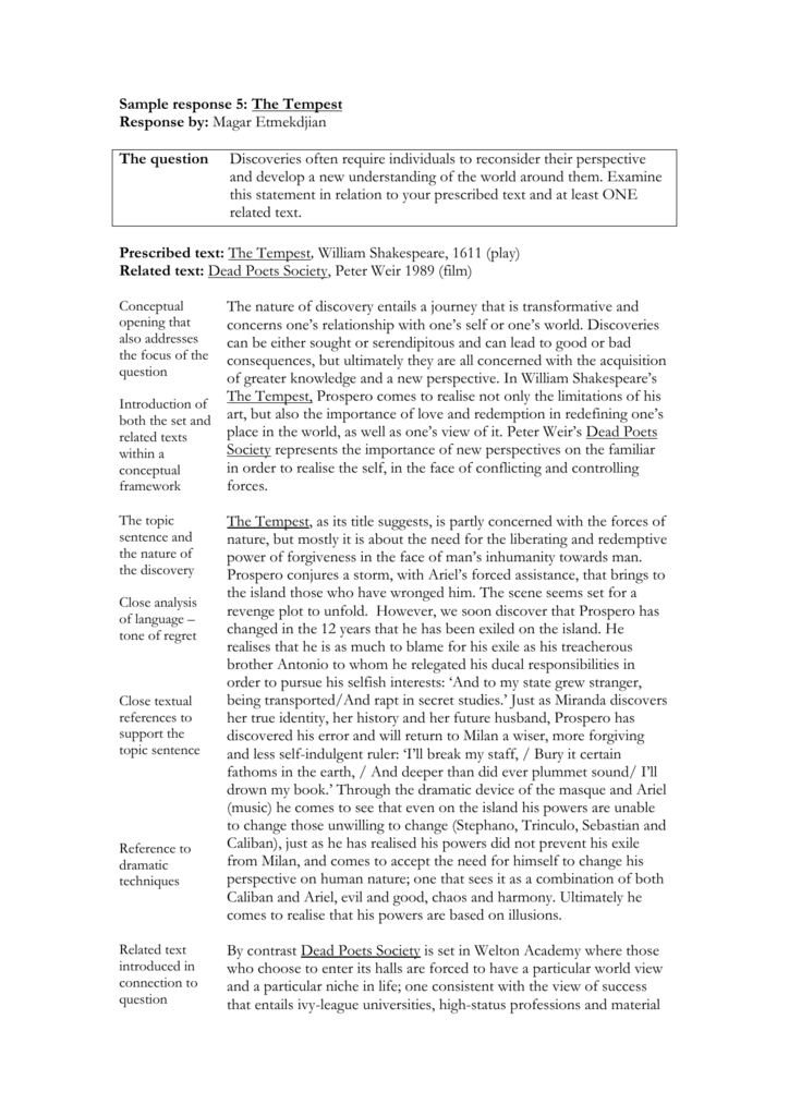 Sample Response 5 The Tempest Response By Magar Etmekdjian