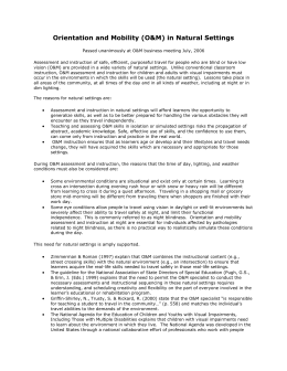 Position Paper #1 - Association for Education and Rehabilitation of