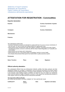 ATTESTATION FOR REGISTRATION - Commodities