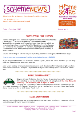 HSWL Volunteer Newsletter October 2015 - Home