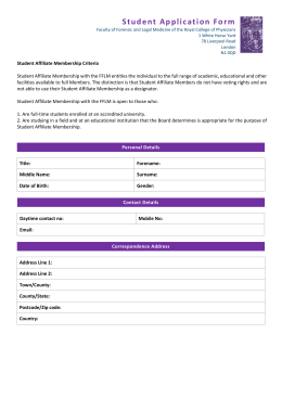 Student Affiliate Application Form - The Faculty of Forensic & Legal