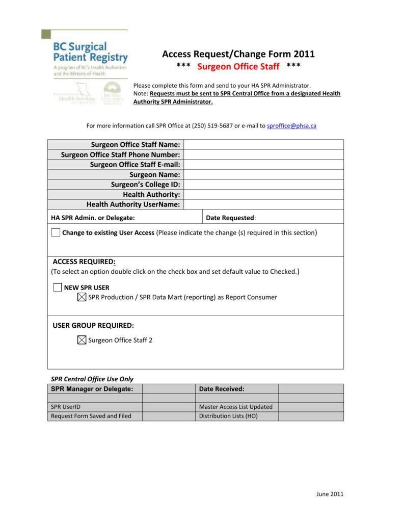 surgical patient registry access request form