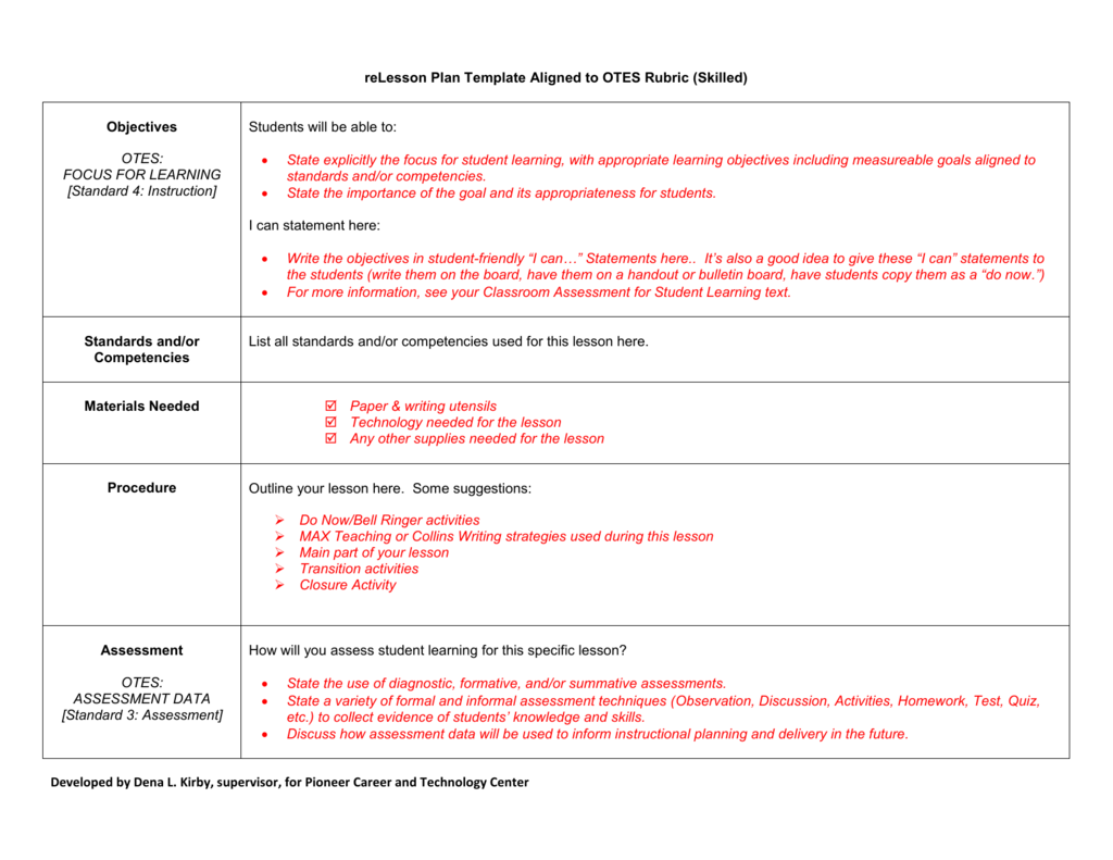 Recommended Lesson PLan Template Aligned To OTES - Otes lesson plan template