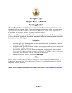 Chapter House Award Application