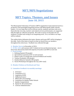 MFT/MPS Negotiations MFT Topics, Themes, and Issues June 18