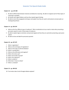 Semester Test Speech Study Guide