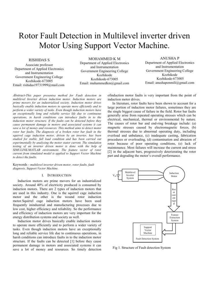 Rotor Fault Detection in Multilevel inverter driven Motor Using