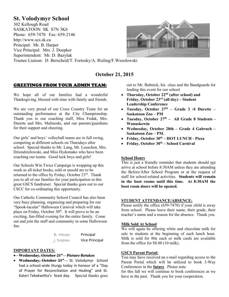 Newsletter October 21 - Greater Saskatoon Catholic Schools