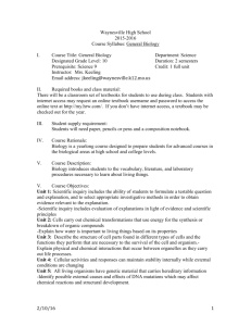 Biology Syllabus - Waynesville School District