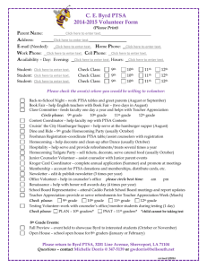 the PTSA Volunteer Form for the 2014