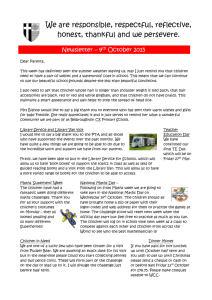 Newsletter 9th October 2015 - Belbroughton Primary School