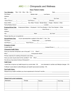 Adult Intake Form - ARCHEUS Chiropractic